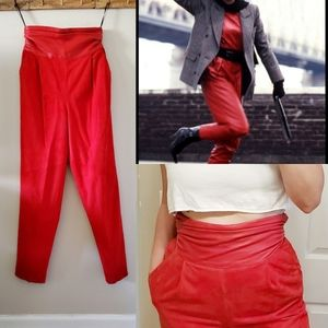 Vintage 80s 90s Red Leather Suede High Waist Pants